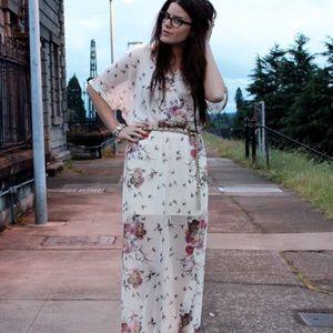 Zara Sheer Floral Maxi Dress